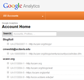 Example of Google Analytics Account Home page.