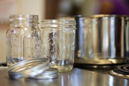 empty glass jars and pot