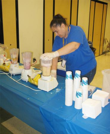 Preparing Fruit Smoothies! School Nutrition Fair
