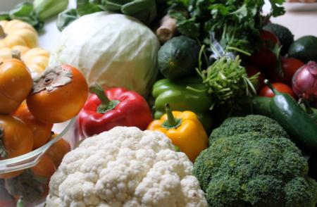 Assorted Fresh Autumn Vegetables and Fruit