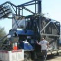 Experimental olive harvest: Harvester enters the field