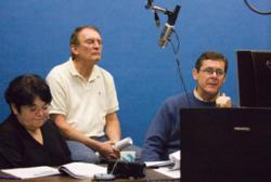 Paula Hamilton, Steve Nation, Mike Miller in the Communication Services studio d