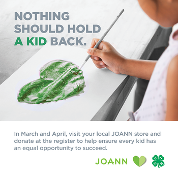 JOANN hearts 4-H message at bottom
