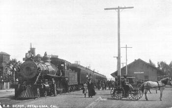 Petaluma railroad depot in 1908, now the Petaluma Visitor's Center (Courtesy of the Sonoma County Library).