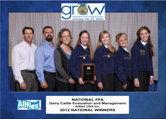 FFA Dairy Cattle winners 2012