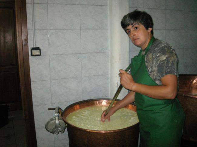 Sabina making Toma, Valle Pellice, Italy