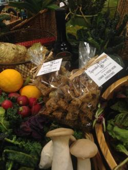 Lemon and fresh herb croutons from Sprouted Heart along with bountiful seasonal produce