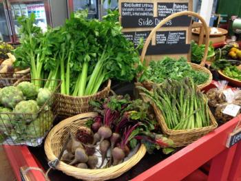 Locally grown produce displayed at Cooper's Public Market