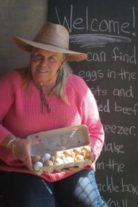 Kitty Dolcini at her egg stand