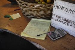 Record book at Gospel Flat Farm
