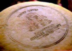 A finished wheel of Toma cheese in the aging room at the Point. Reyes Farmstead Cheese Company