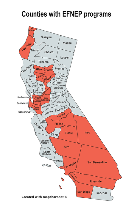 Counties with EFNEP programs in California