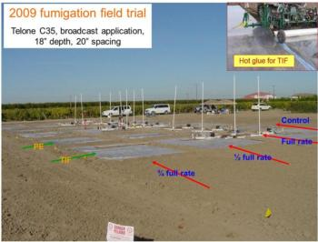 Fumigation trial, Parlier CA. Two tarps, different fumigation rates, measurements of emissions, soil fumigants, efficacy investigations. Photo by Gao
