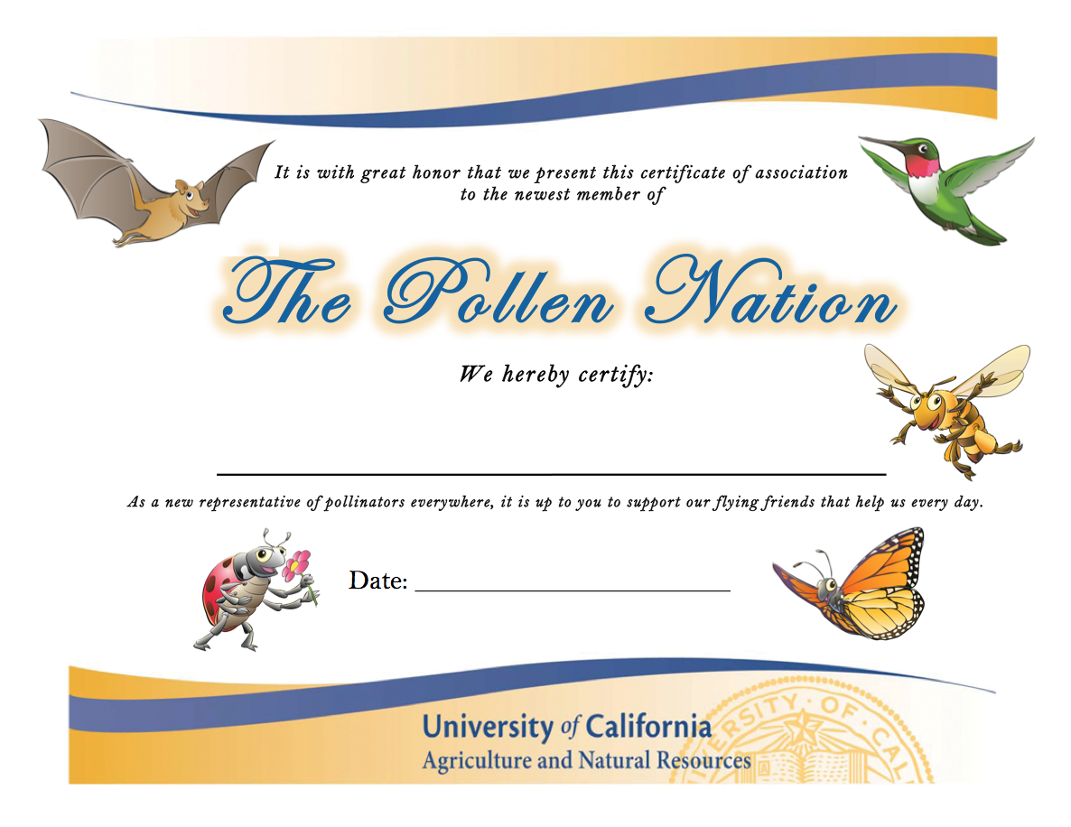 Click to print out your Pollen Nation Certificate!