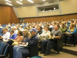 Audience listening to opening remarks for the Redwood Symposium Conference 2011