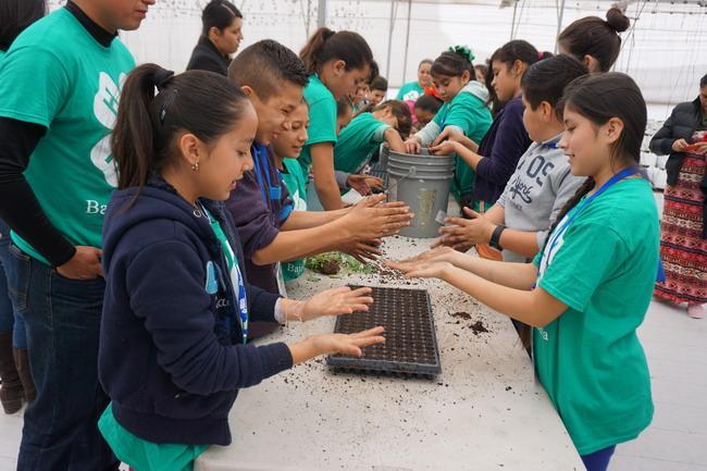 Niños mexicanos se ensucian las manos mientras aprenden sobre alimentos y agricultura.