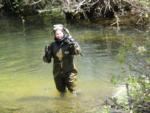 Lisa Thompson in snorkeling gear, South Fork American River, CA. Photo by Stpehanie Locher