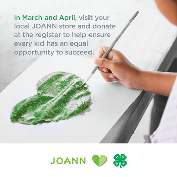 JOANN promotion: Nothing Should Hold a Kid Back. Child painting a green heart.