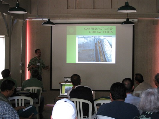 Darren Haver of UCCE Orange County describes a vegetated filter strip project using Canna lilies.