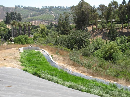 Bordiers grass-filled drainage path effectively reduces runoff with little maintenance beyond occasional mowing.