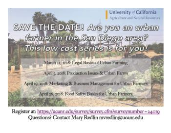 UC ANR Urban Ag Workshop Series Save the Date_San Diego 2018