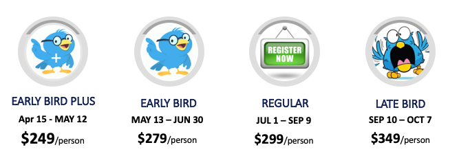 Early Bird Plus (April 15-May 12) $249.00, Earl Bird (May 13-June 30) $279, Regular Jul 1-Sep 9 $299, Late Sep 10-Oct 7 $349
