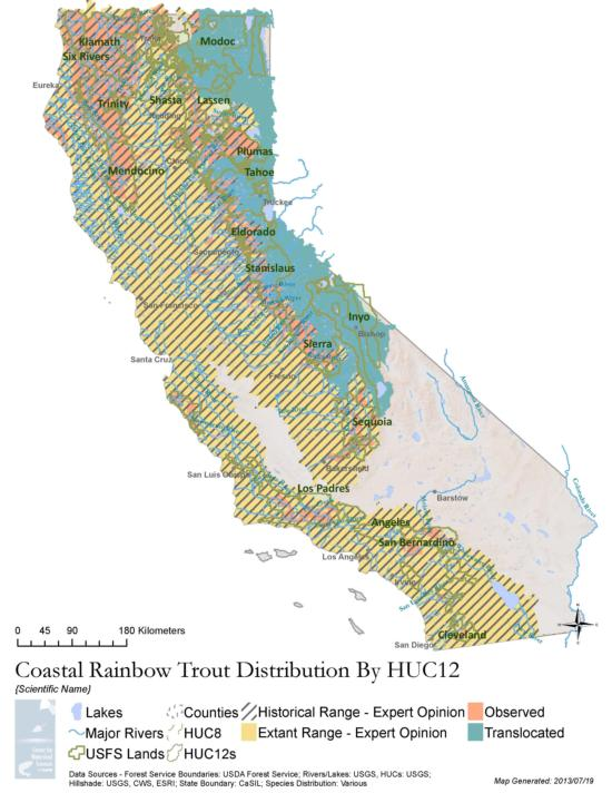 Coastal rainbow trout distribution map, available on the PISCES Database Website.