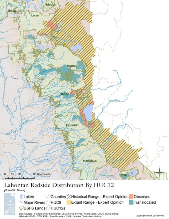 Lahontan redside distribution map, available on the PISCES Database Website.