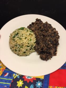 Served with cilantro lime brown rice