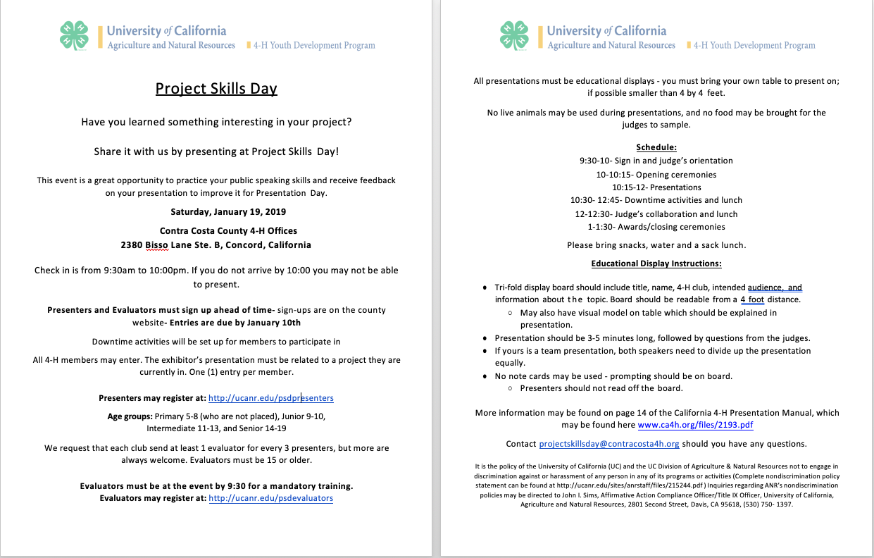 Project Skills Day Flyer 2018