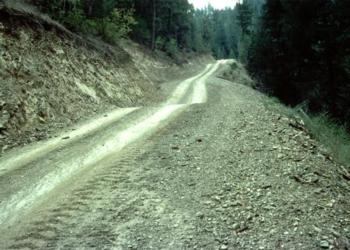 Rolling dip, mid-picture, on an out-sloped road. Source: Bill Weaver, Pacific Watershed Associates.