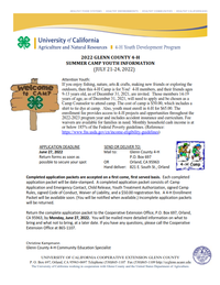 Glenn County 4-H Camp Youth Camper Information & Application Image 2020