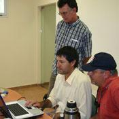 Fabricio, Jose and Bill reveiw procedures for the pull test