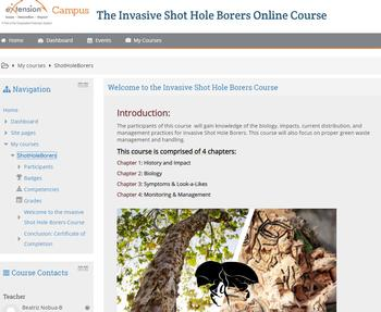 ishb eXtension course screen