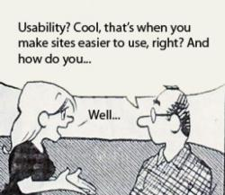 cartoon of woman replying to a man who is asking what usability is