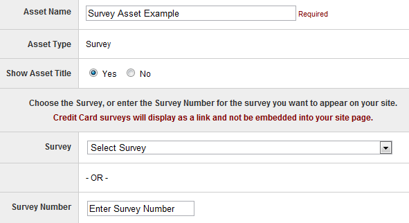Survey Asset Options
