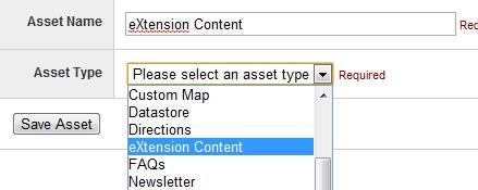 Creating the eXtension asset