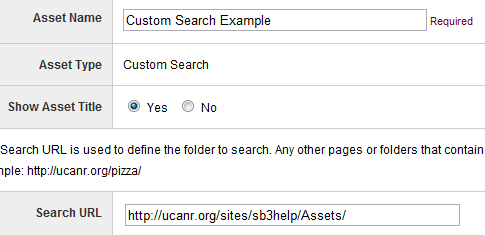 Custom Search Asset