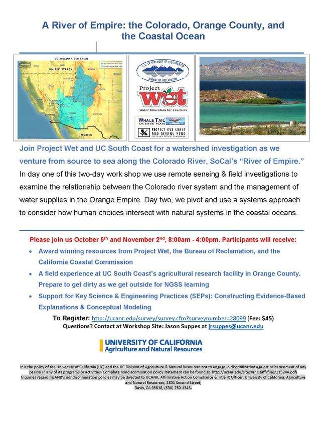 Project WET Workshop Flyer - Click here to register.