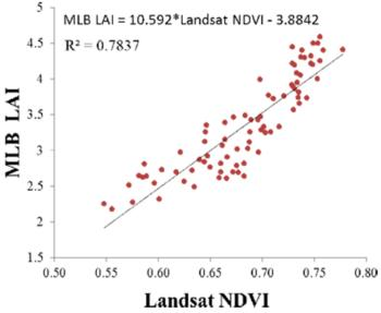 Fig.1 Correlation between values of LAI calculated from fPAR measurements (Mule light bar) and NDVI Landsat values.