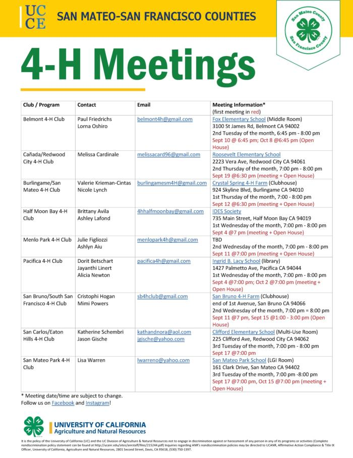 2019-2020 4-H Meetings