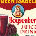 Queen Isabella Boysenberry Juice Drink Label