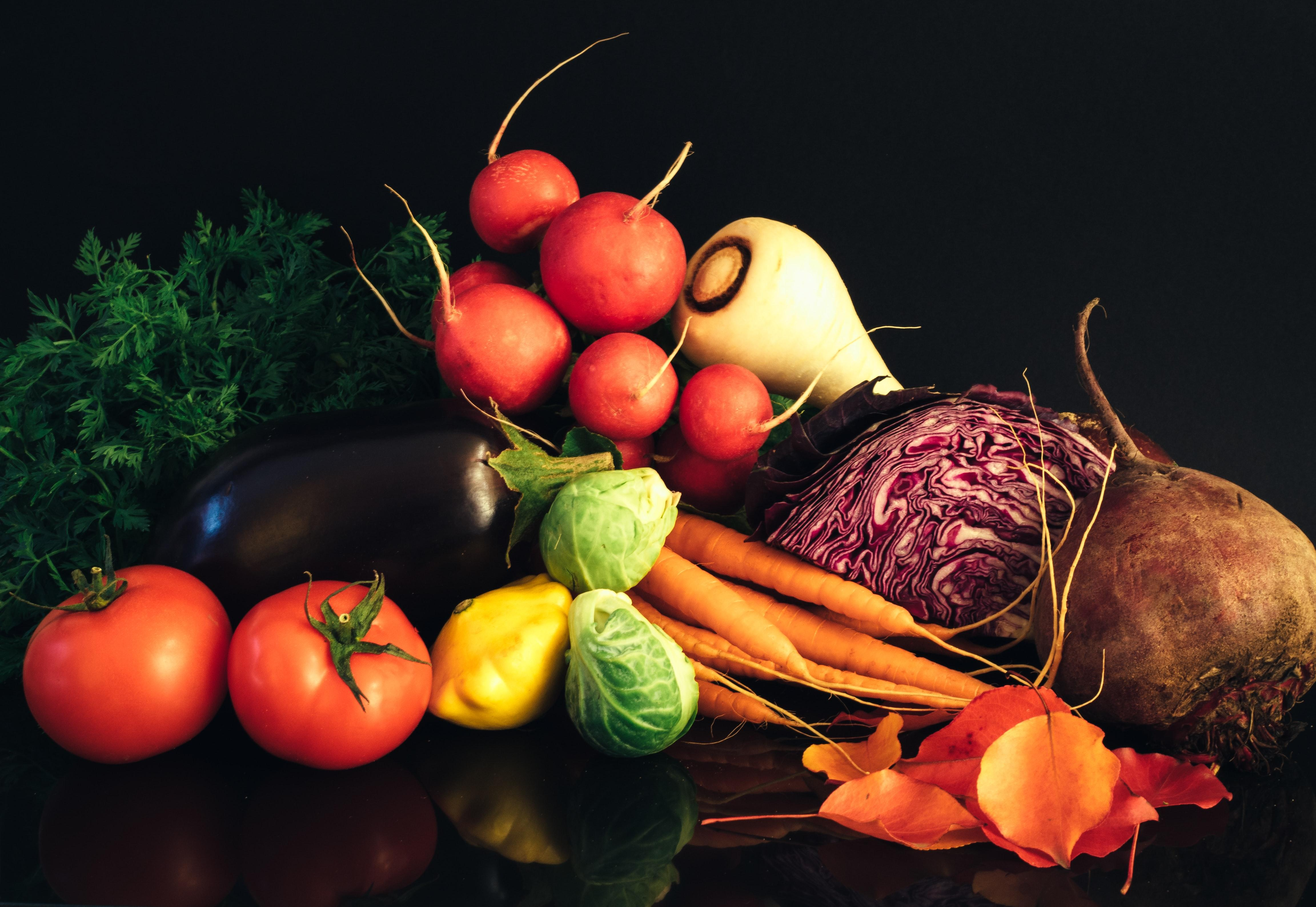 Fruits and vegetables.