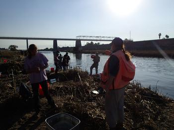 Fishing with volunteer anglers in the LA River Estuary. Photo by S. Drill